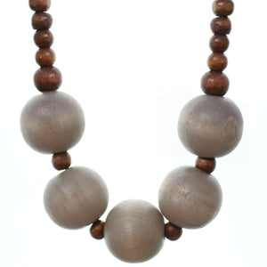 Brown Wooden Beaded Stretch Necklace Set