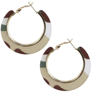 Brown Acrylic Camo Mini Hoop Earrings