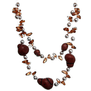 Brown Beaded Illusion Invisible Necklace Set