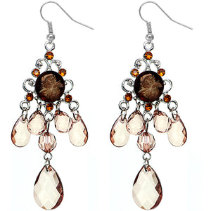 Brown Elegant Beaded Chandelier Dangle Earrings