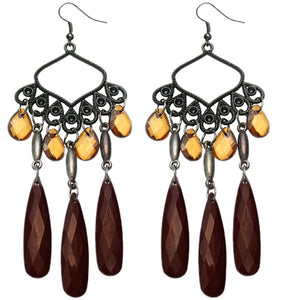 Brown Beaded Dangle Chandelier Earrings