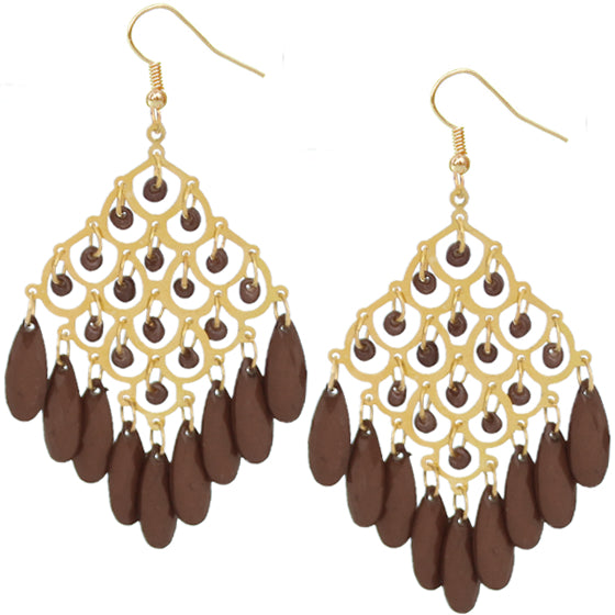 Brown Dangle Bead Chandelier Earrings