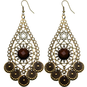Brown Beaded Disc Dangle Earrings