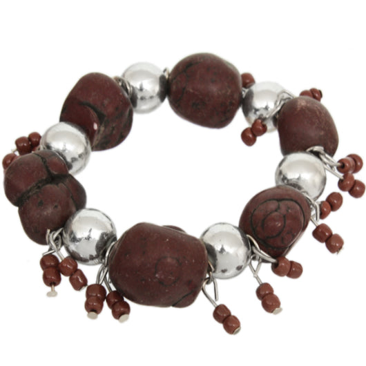 Brown Beaded Faux Stone Stretch Bracelet