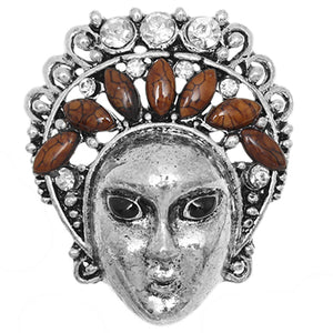Brown Beaded Rhinestone Female Face Adjustable Ring