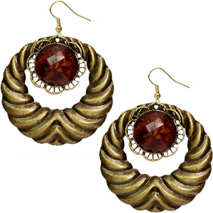 Brown Extra Large Gemstone Crescent Earrings