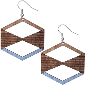 Blue Brown Geometric Wooden Earrings
