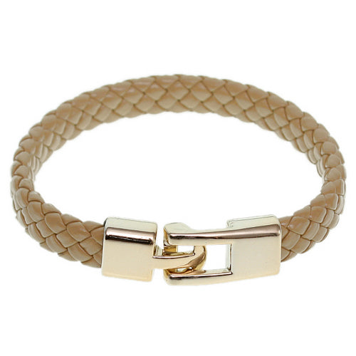 Brown Braided Woven Leather Latch Bracelet