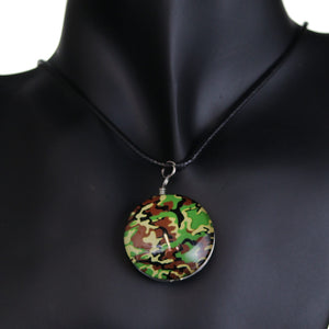 Green Camo Murano Glass Cord Necklace