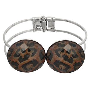 Brown Glossy Cheetah Print Hinged Bracelet