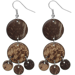 Brown Coconut Round Disc Earrings
