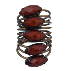 Brown Beaded Coil Wrap Ring