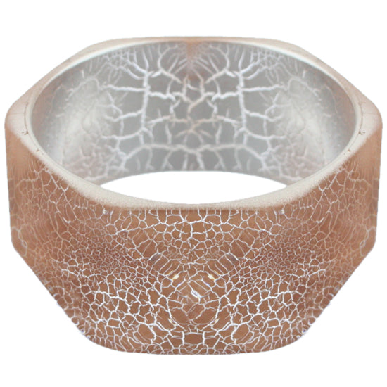 Brown Cracked Texture Hexagon Bangle Bracelet