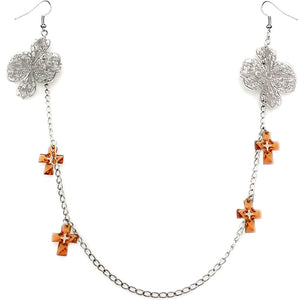 Brown Double Cross Chain Necklace Earrings