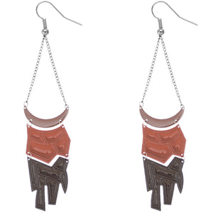 Brown Geometric Drop Chain Earrings