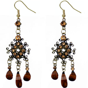 Brown Elegant Chandelier Gemstone Earrings