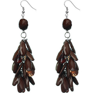 Brown Faceted Beaded Oval Dangle Earrings