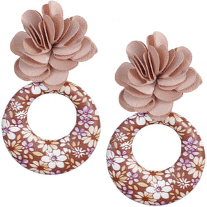 Brown Floral Fabric Drop Hoop Earrings