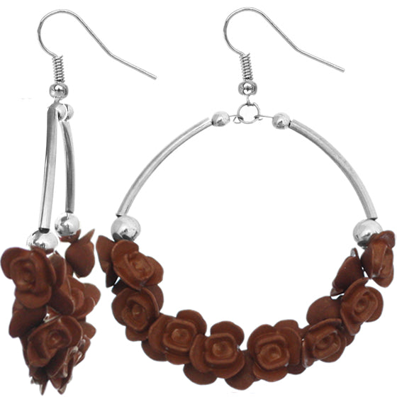 Brown hoop flower earrings