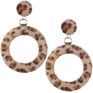 Brown Cheetah Faux Fur Hoop Earrings