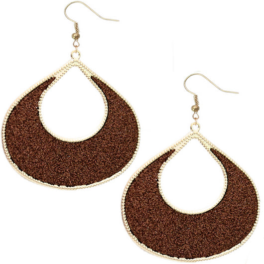 Brown Glitter Puffy Teardrop Dangle Earrings