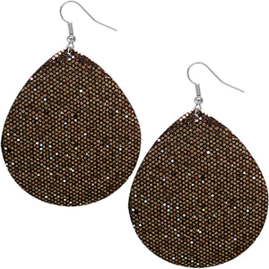 Brown Glitter Teardrop Earrings