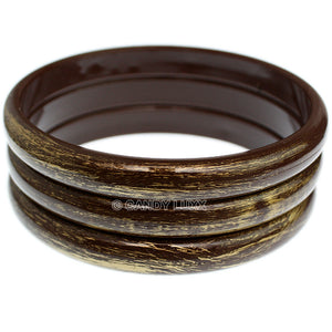 Brown 3-Piece Gold Brush Stacked Bracelets