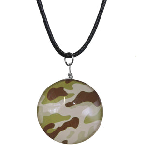Green Brown Camo Murano Glass Cord Necklace