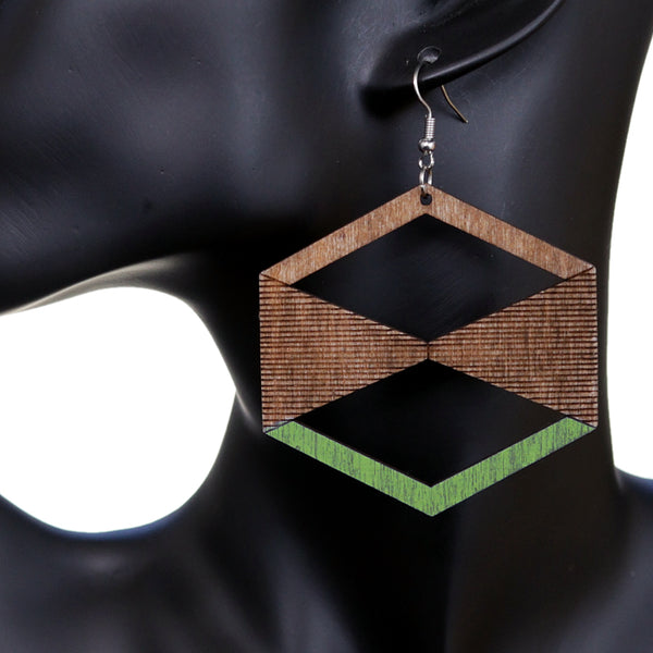 Green Brown Geometric Wooden Earrings