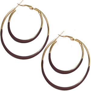 Brown Double Layered Hoop Earrings