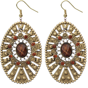 Brown Large Round Studded Dangle Earrings