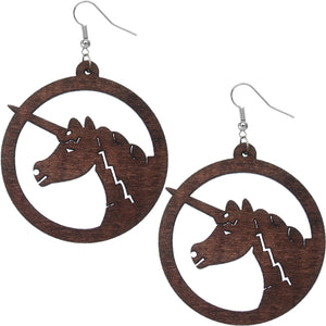 Dark Brown Wooden Large Unicorn Hoop Earrings