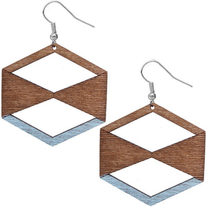 Light Blue Brown Geometric Wooden Earrings