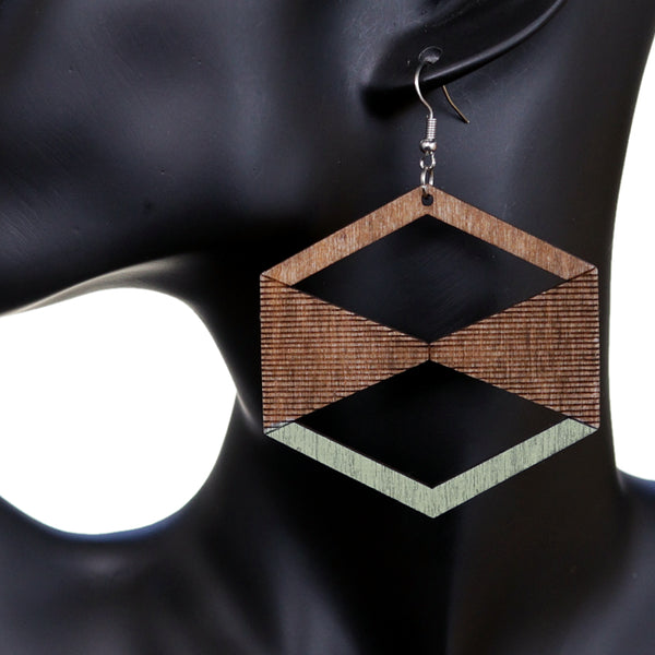 Light Green Brown Geometric Wooden Earrings