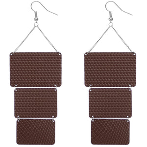 Brown Triple Square Link Drop Earrings
