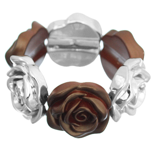 Brown Floral Stretch Bracelet