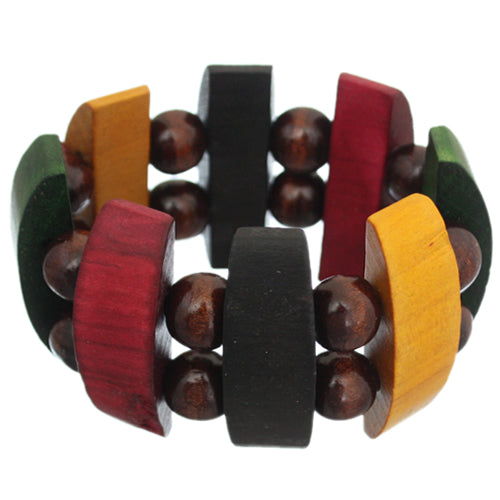 Brown Multicolor Wooden Arch Stretch Bracelet