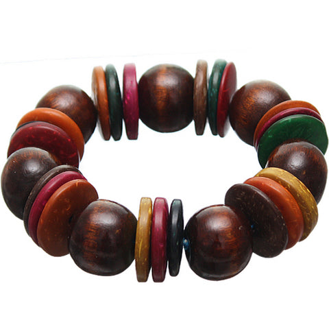 Brown Multicolor Wooden Bead Stretch Bracelet