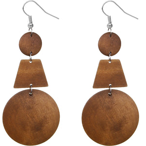 Natural Brown Triple Geometric Wooden Drop Earrings