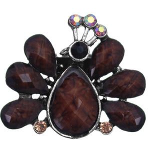 Brown Large Beaded Peacock Adjustable Ring