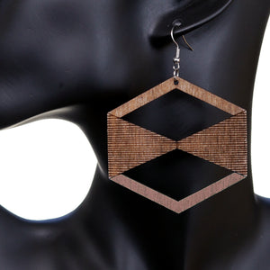 Light Pink Brown Geometric Wooden Earrings