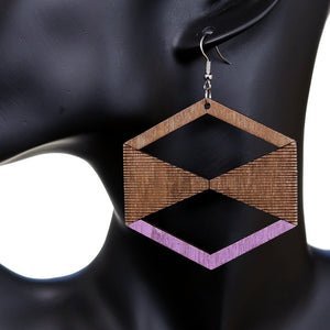 Purple Brown Geometric Wooden Earrings