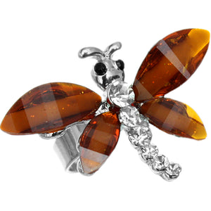 Brown Rhinestone Mini Butterfly Adjustable Ring