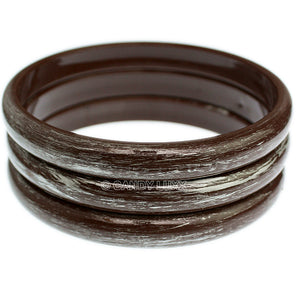 Brown 3-Piece Brush Stacked Bracelets