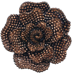 Brown Large Sparkle Flower Stretch Ring