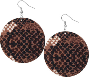 Brown Spotted Wooden Round Earrings