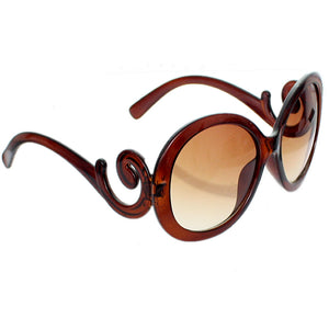 Brown Designer Inspired Round Swirl Sunglasses