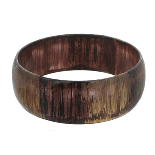 Brown Glossy Textured Bangle Bracelet
