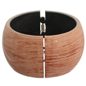 Brown Glossy Textured Hinged Bracelet
