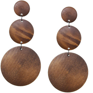 Brown Triple Circular Cascade Wooden Earrings